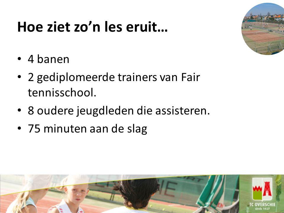 Hoe ziet zo'n les eruit… 4 banen 2 gediplomeerde trainers van Fair tennisschool.