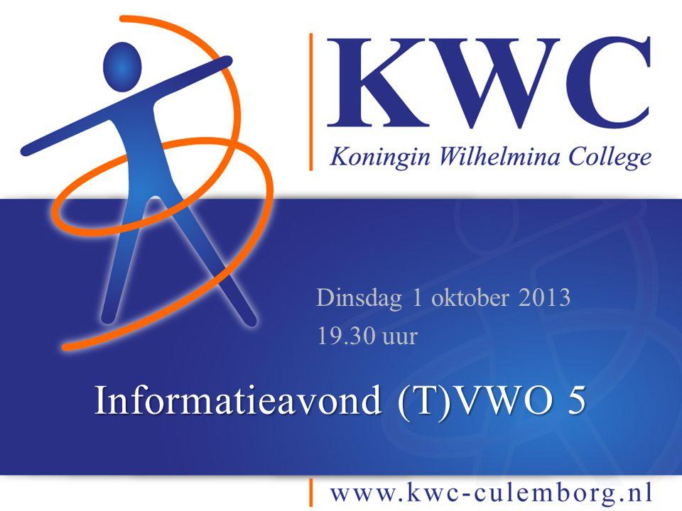 Informatieavond (T)VWO 5 Dinsdag 1 oktober 2013 19.30 uur