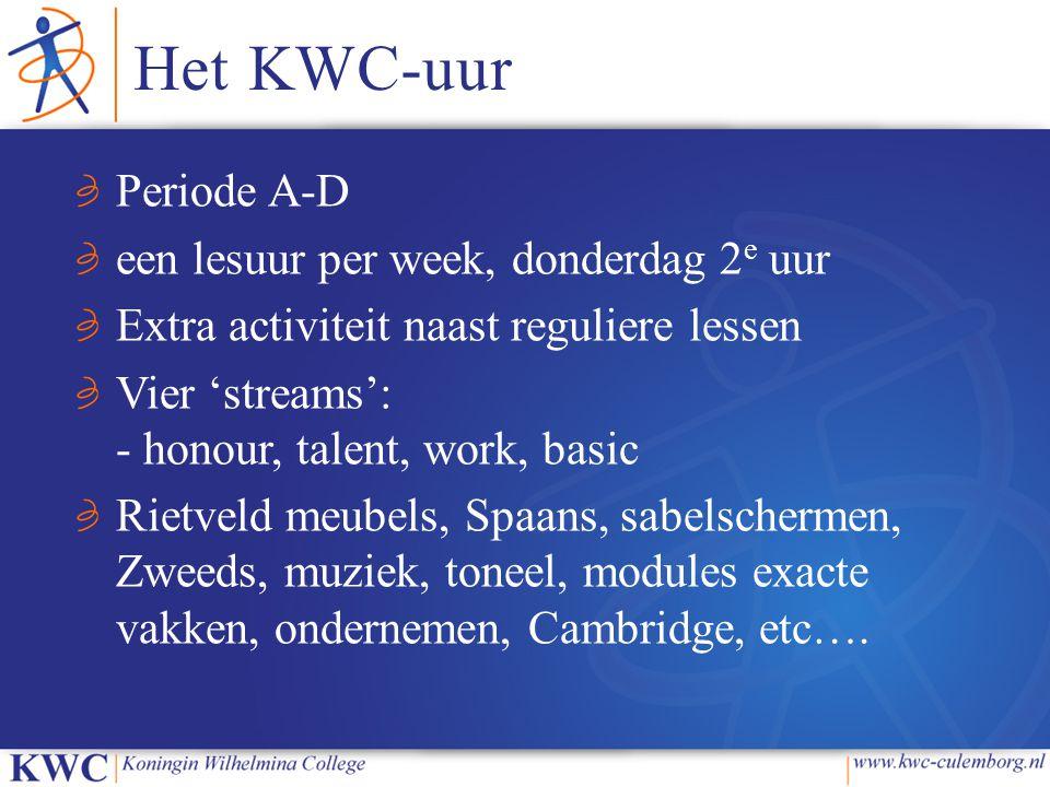Het KWC-uur Periode A-D een lesuur per week, donderdag 2 e uur Extra activiteit naast reguliere lessen Vier 'streams': - honour, talent, work, basic Rietveld meubels, Spaans, sabelschermen, Zweeds, muziek, toneel, modules exacte vakken, ondernemen, Cambridge, etc….
