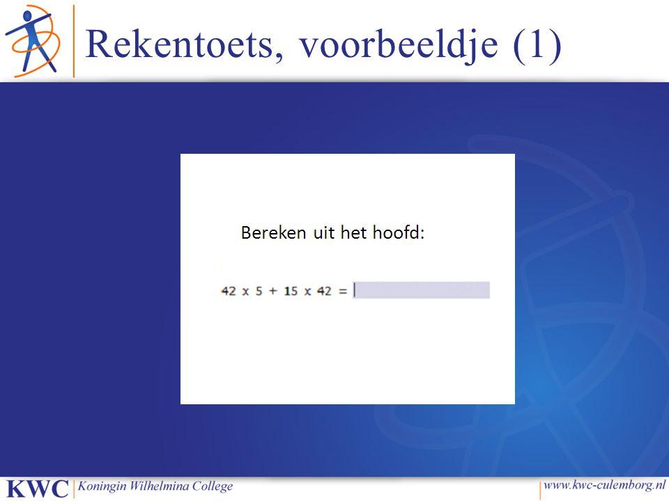 Rekentoets, voorbeeldje (1)