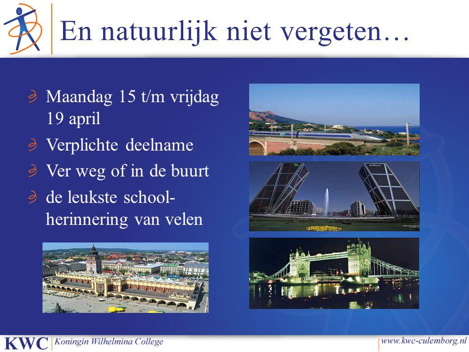 En natuurlijk niet vergeten… Maandag 15 t/m vrijdag 19 april Verplichte deelname Ver weg of in de buurt de leukste school- herinnering van velen