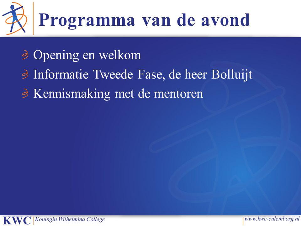 Programma van de avond Opening en welkom Informatie Tweede Fase, de heer Bolluijt Kennismaking met de mentoren