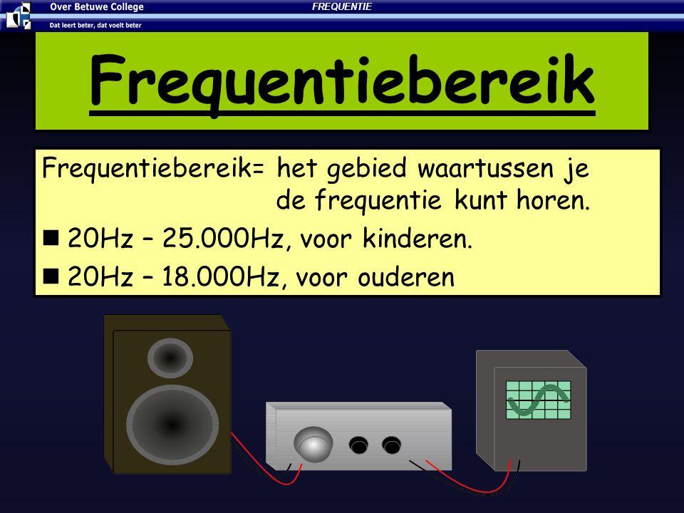 Frequentiebereik Frequentiebereik= het gebied waartussen je de frequentie kunt horen. 20Hz – 25.000Hz, voor kinderen. 20Hz – 18.000Hz, voor ouderen FR