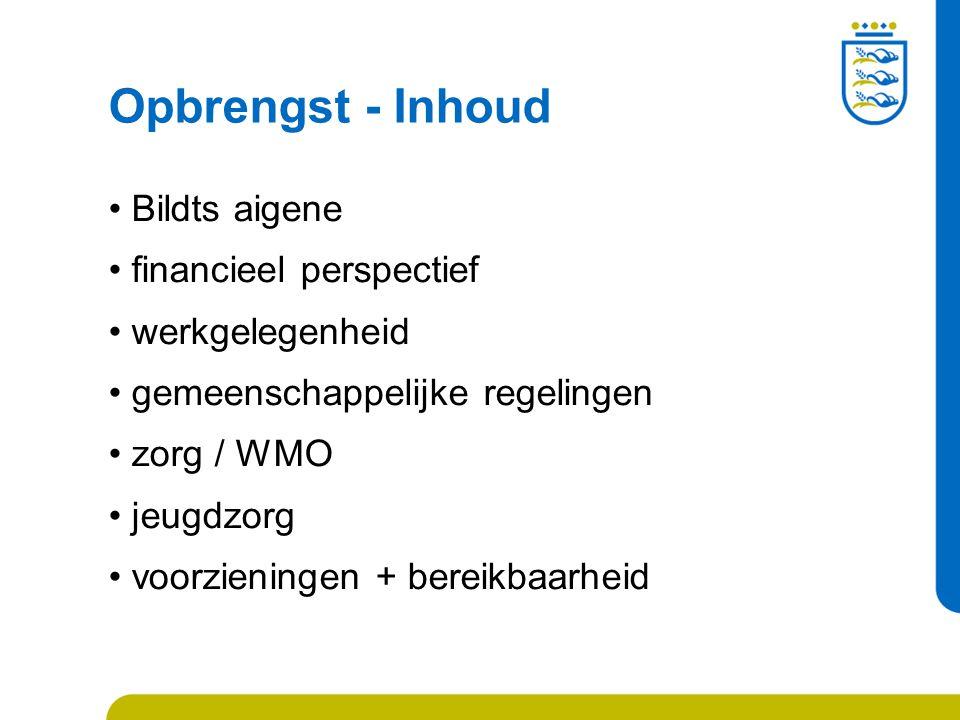 Opbrengst - Inhoud Bildts aigene financieel perspectief werkgelegenheid gemeenschappelijke regelingen zorg / WMO jeugdzorg voorzieningen + bereikbaarheid