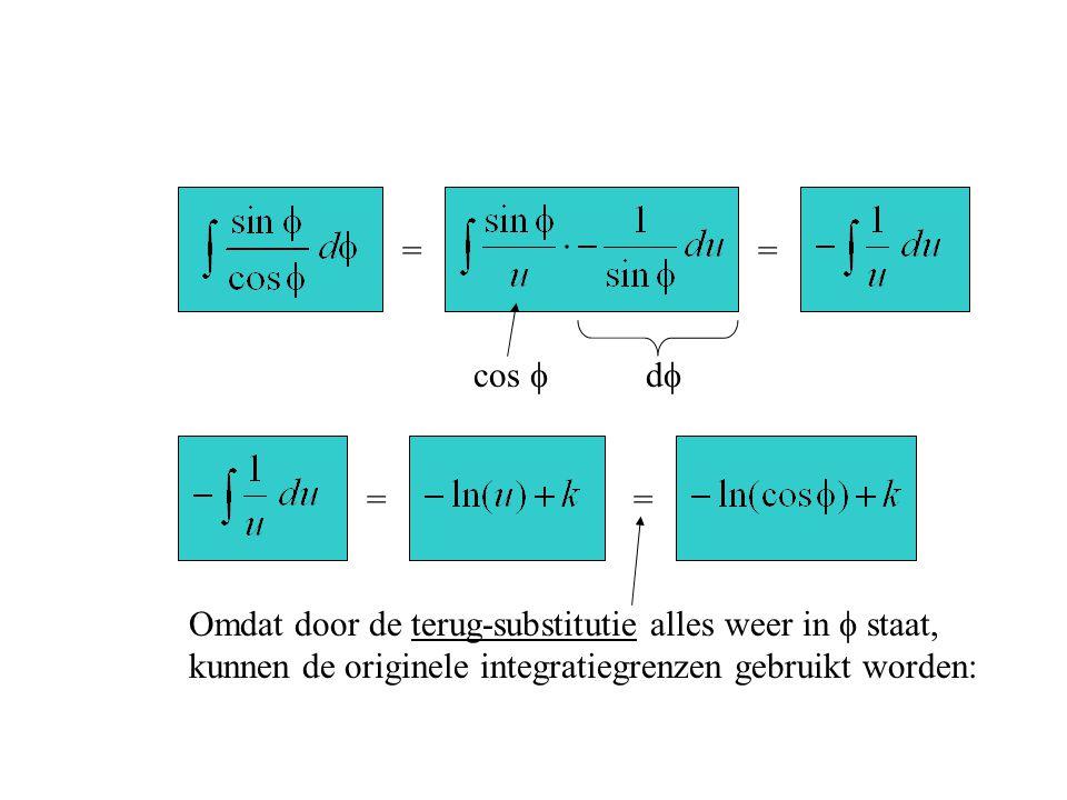 = = cos  d  = = Omdat door de terug-substitutie alles weer in  staat, kunnen de originele integratiegrenzen gebruikt worden: