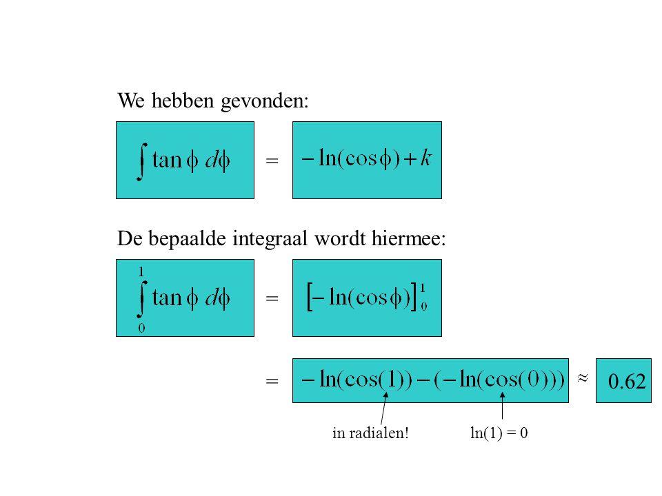 = We hebben gevonden: De bepaalde integraal wordt hiermee: = =0.62 in radialen!ln(1) = 0