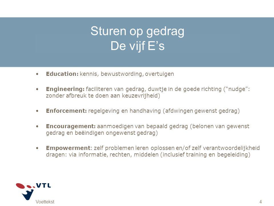 Voettekst4 Sturen op gedrag De vijf E's Education: kennis, bewustwording, overtuigen Engineering: faciliteren van gedrag, duwtje in de goede richting