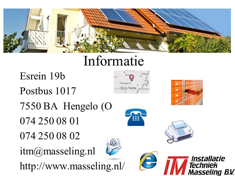 Informatie Esrein 19b Postbus 1017 7550 BA Hengelo (O 074 250 08 01 074 250 08 02 itm@masseling.nl http://www.masseling.nl/