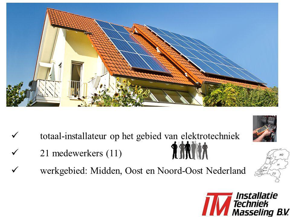 totaal-installateur op het gebied van elektrotechniek 21 medewerkers (11) werkgebied: Midden, Oost en Noord-Oost Nederland