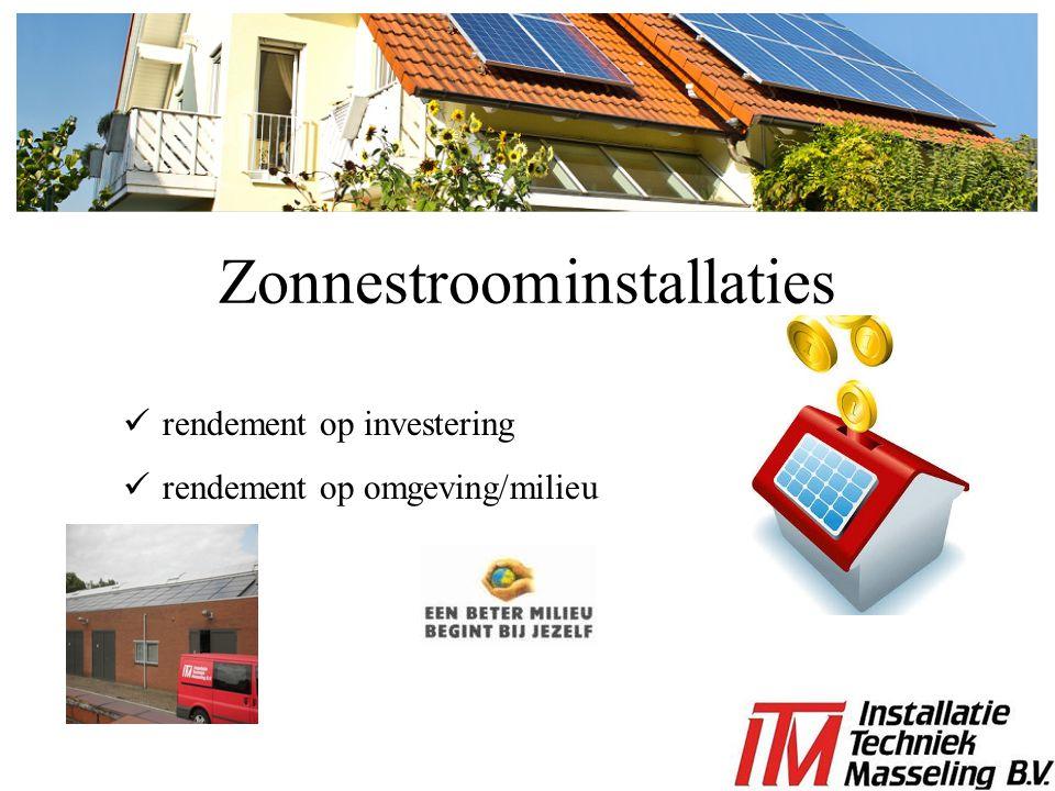 rendement op investering rendement op omgeving/milieu Zonnestroominstallaties