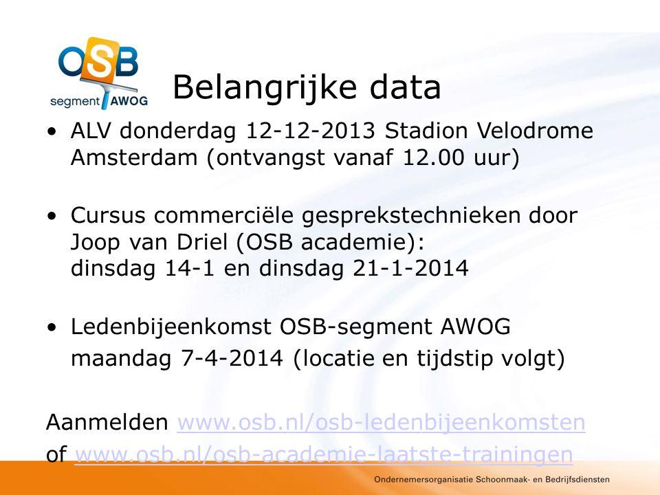 Belangrijke data ALV donderdag 12-12-2013 Stadion Velodrome Amsterdam (ontvangst vanaf 12.00 uur) Cursus commerciële gesprekstechnieken door Joop van