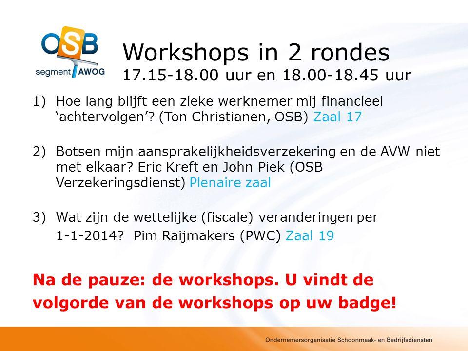 Workshops in 2 rondes 17.15-18.00 uur en 18.00-18.45 uur 1)Hoe lang blijft een zieke werknemer mij financieel 'achtervolgen'? (Ton Christianen, OSB) Z