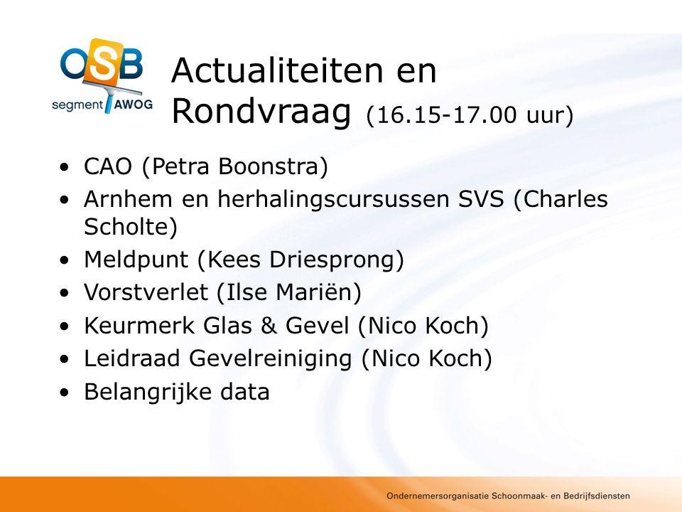Actualiteiten en Rondvraag (16.15-17.00 uur) CAO (Petra Boonstra) Arnhem en herhalingscursussen SVS (Charles Scholte) Meldpunt (Kees Driesprong) Vorst