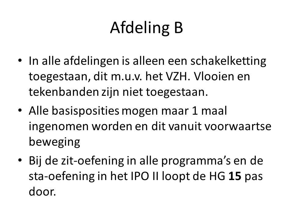 Afdeling B In alle afdelingen is alleen een schakelketting toegestaan, dit m.u.v. het VZH. Vlooien en tekenbanden zijn niet toegestaan. Alle basisposi