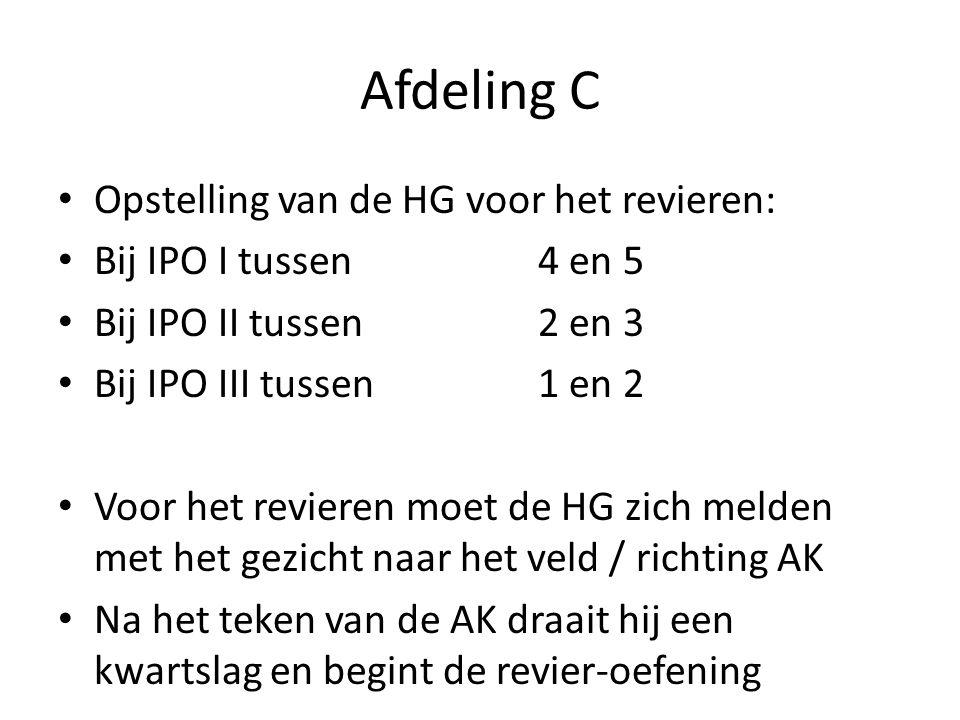 Afdeling C Opstelling van de HG voor het revieren: Bij IPO I tussen4 en 5 Bij IPO II tussen2 en 3 Bij IPO III tussen 1 en 2 Voor het revieren moet de