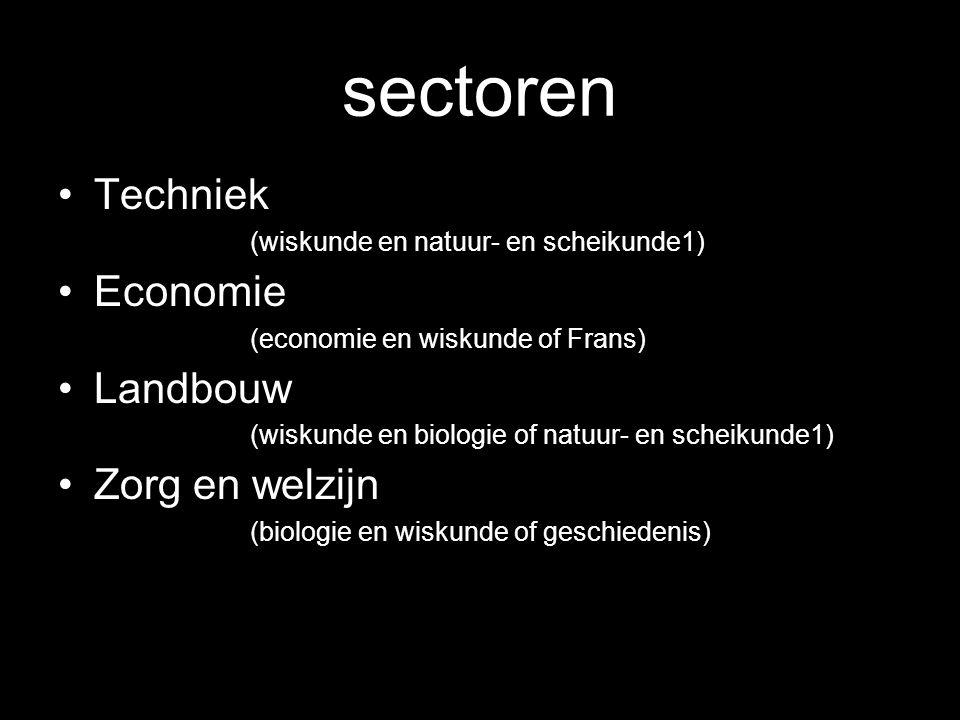 sectoren Techniek (wiskunde en natuur- en scheikunde1) Economie (economie en wiskunde of Frans) Landbouw (wiskunde en biologie of natuur- en scheikund
