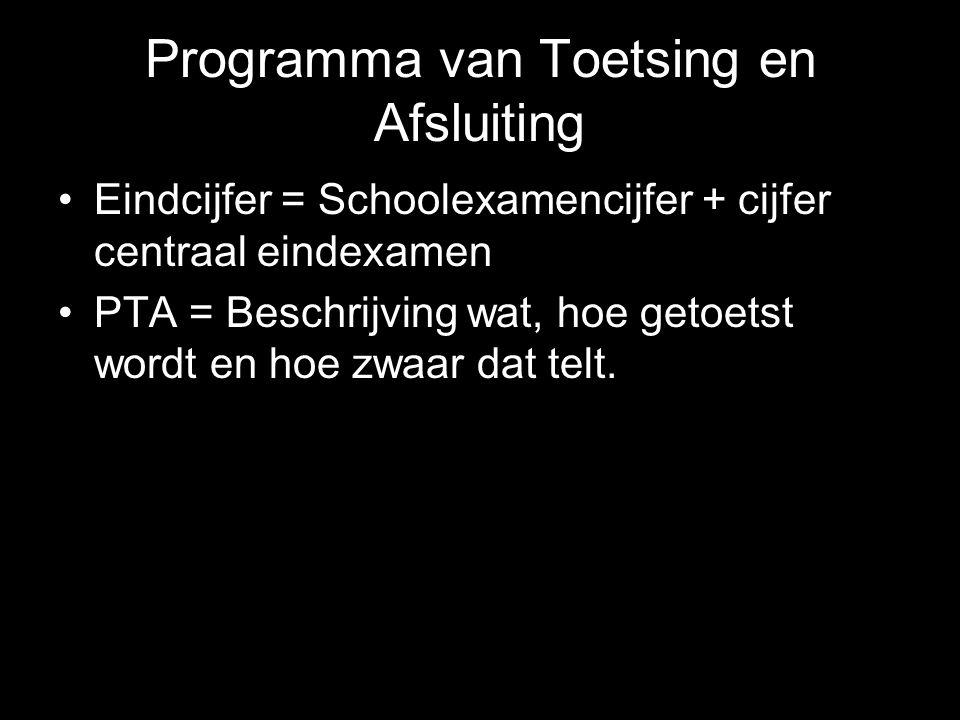 Programma van Toetsing en Afsluiting Eindcijfer = Schoolexamencijfer + cijfer centraal eindexamen PTA = Beschrijving wat, hoe getoetst wordt en hoe zw