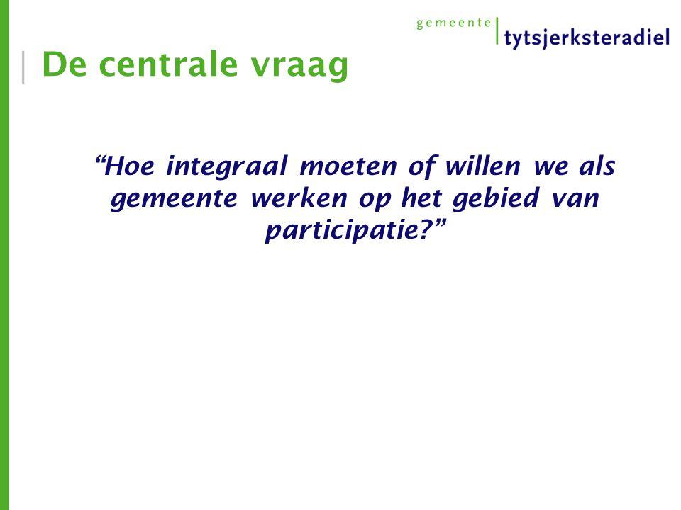 De centrale vraag Hoe integraal moeten of willen we als gemeente werken op het gebied van participatie?