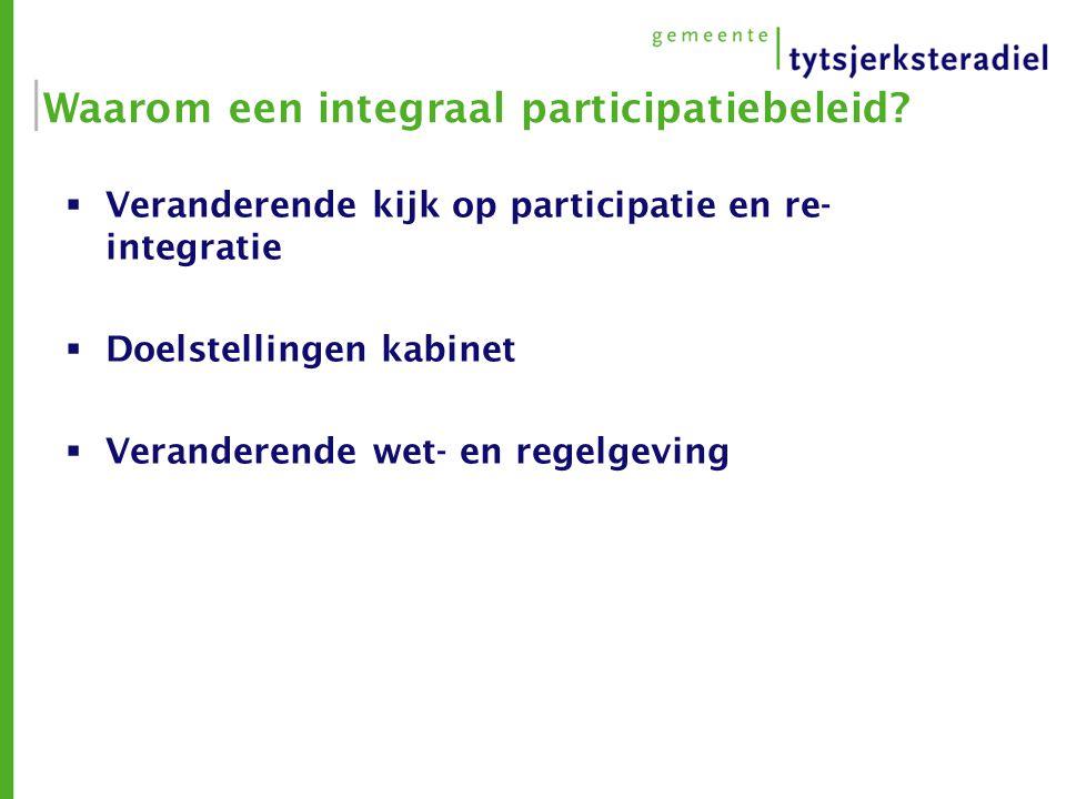 Waarom een integraal participatiebeleid?  Veranderende kijk op participatie en re- integratie  Doelstellingen kabinet  Veranderende wet- en regelge