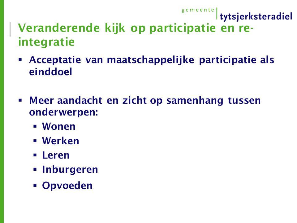 Veranderende kijk op participatie en re- integratie  Acceptatie van maatschappelijke participatie als einddoel  Meer aandacht en zicht op samenhang tussen onderwerpen:  Wonen  Werken  Leren  Inburgeren  Opvoeden