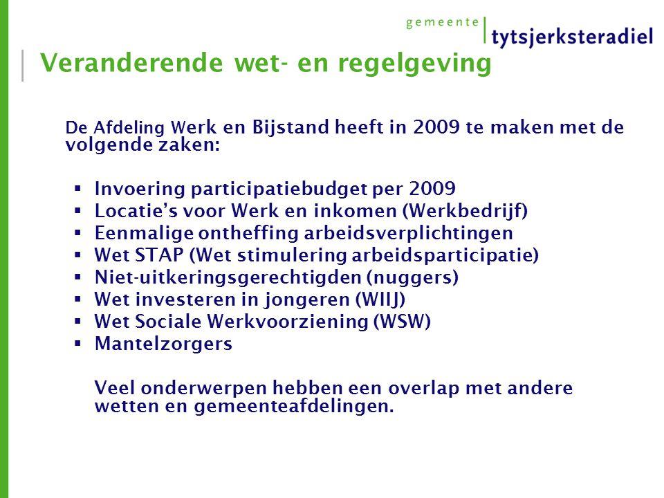 Veranderende wet- en regelgeving De Afdeling W erk en Bijstand heeft in 2009 te maken met de volgende zaken:  Invoering participatiebudget per 2009  Locatie's voor Werk en inkomen (Werkbedrijf)  Eenmalige ontheffing arbeidsverplichtingen  Wet STAP (Wet stimulering arbeidsparticipatie)  Niet-uitkeringsgerechtigden (nuggers)  Wet investeren in jongeren (WIIJ)  Wet Sociale Werkvoorziening (WSW)  Mantelzorgers Veel onderwerpen hebben een overlap met andere wetten en gemeenteafdelingen.