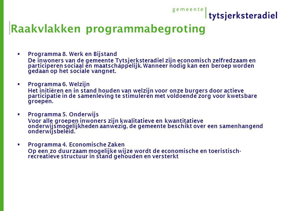 Raakvlakken programmabegroting  Programma 8. Werk en Bijstand De inwoners van de gemeente Tytsjerksteradiel zijn economisch zelfredzaam en participer