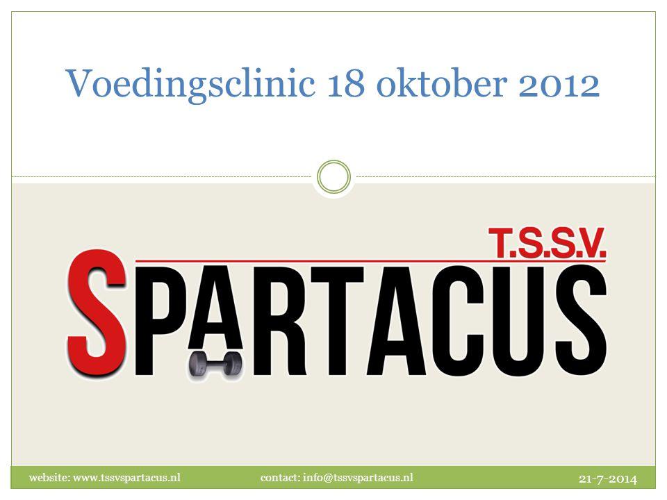 Voedingsclinic 18 oktober 2012 21-7-2014 website: www.tssvspartacus.nl contact: info@tssvspartacus.nl
