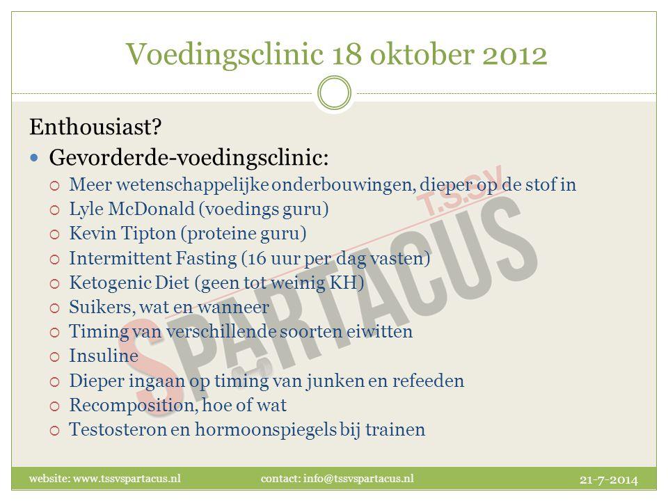 Voedingsclinic 18 oktober 2012 Enthousiast.