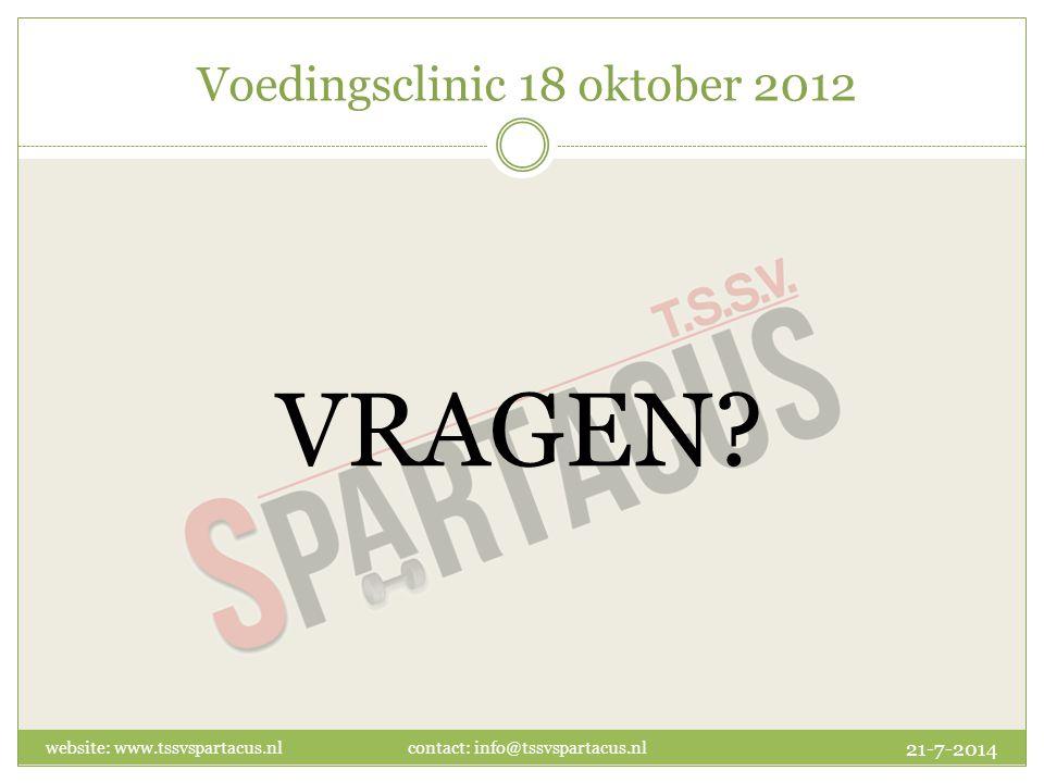 Voedingsclinic 18 oktober 2012 VRAGEN.
