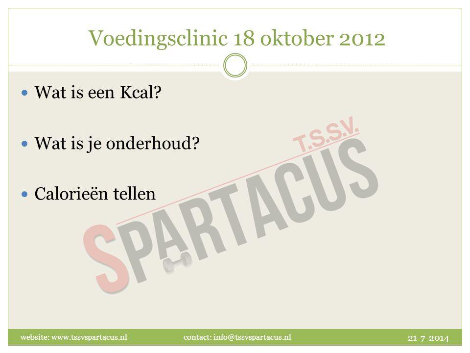 Voedingsclinic 18 oktober 2012 Wat is een Kcal. Wat is je onderhoud.