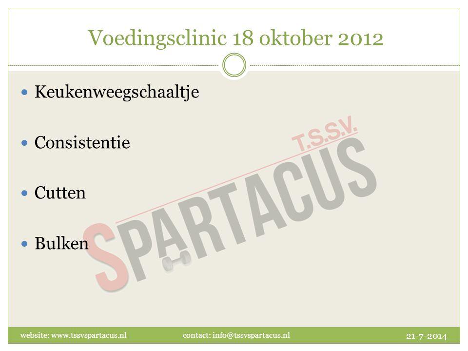 Voedingsclinic 18 oktober 2012 Keukenweegschaaltje Consistentie Cutten Bulken 21-7-2014 website: www.tssvspartacus.nl contact: info@tssvspartacus.nl