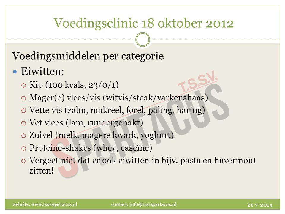 Voedingsclinic 18 oktober 2012 Voedingsmiddelen per categorie Eiwitten:  Kip (100 kcals, 23/0/1)  Mager(e) vlees/vis (witvis/steak/varkenshaas)  Vette vis (zalm, makreel, forel, paling, haring)  Vet vlees (lam, rundergehakt)  Zuivel (melk, magere kwark, yoghurt)  Proteine-shakes (whey, caseïne)  Vergeet niet dat er ook eiwitten in bijv.