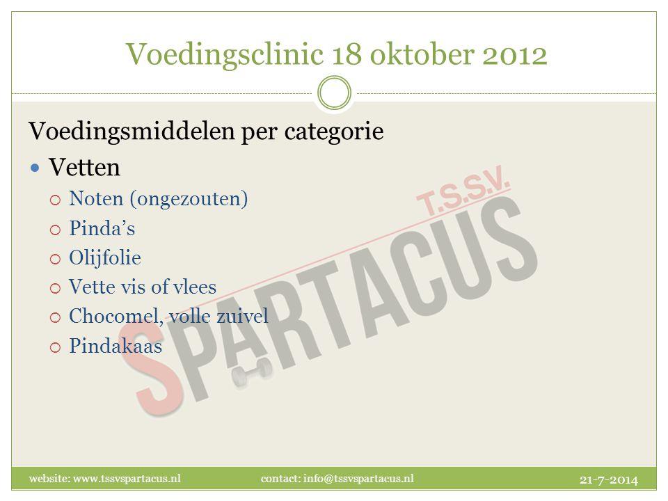 Voedingsclinic 18 oktober 2012 Voedingsmiddelen per categorie Vetten  Noten (ongezouten)  Pinda's  Olijfolie  Vette vis of vlees  Chocomel, volle zuivel  Pindakaas 21-7-2014 website: www.tssvspartacus.nl contact: info@tssvspartacus.nl