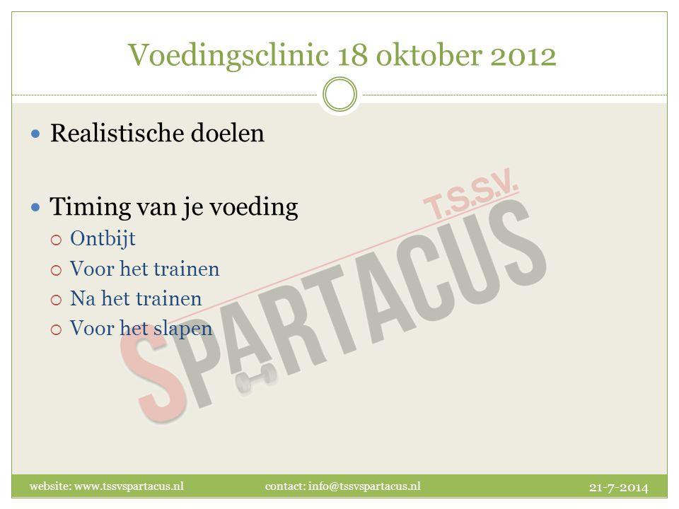 Voedingsclinic 18 oktober 2012 Realistische doelen Timing van je voeding  Ontbijt  Voor het trainen  Na het trainen  Voor het slapen 21-7-2014 website: www.tssvspartacus.nl contact: info@tssvspartacus.nl