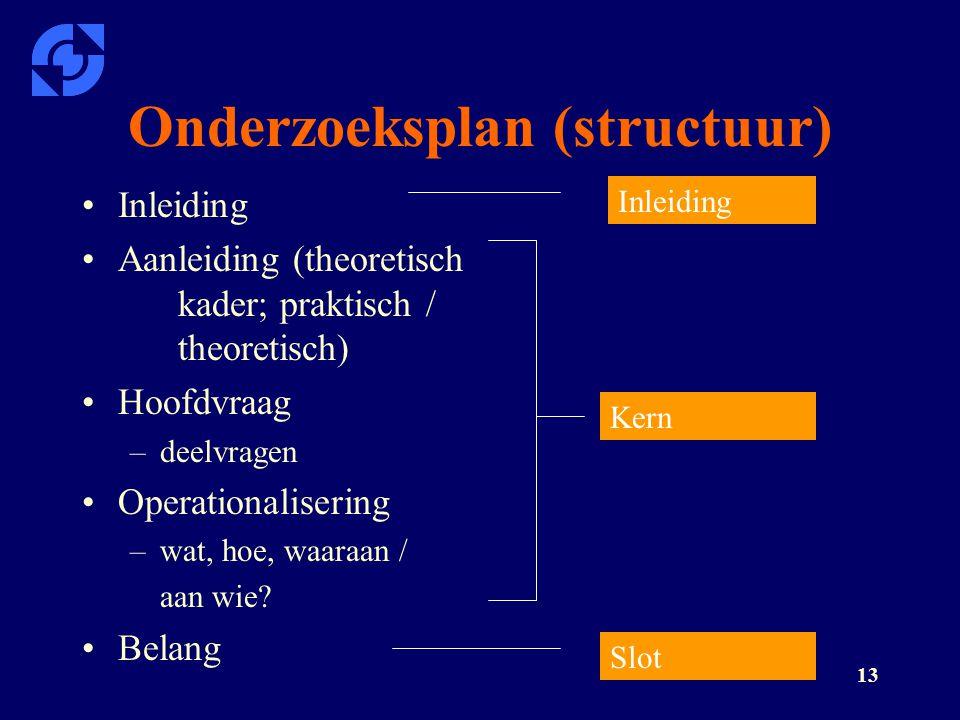 13 Onderzoeksplan (structuur) Inleiding Aanleiding (theoretisch kader; praktisch / theoretisch) Hoofdvraag –deelvragen Operationalisering –wat, hoe, w