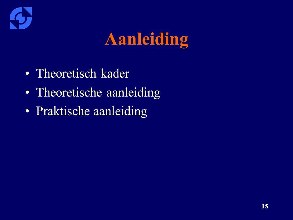 15 Aanleiding Theoretisch kader Theoretische aanleiding Praktische aanleiding