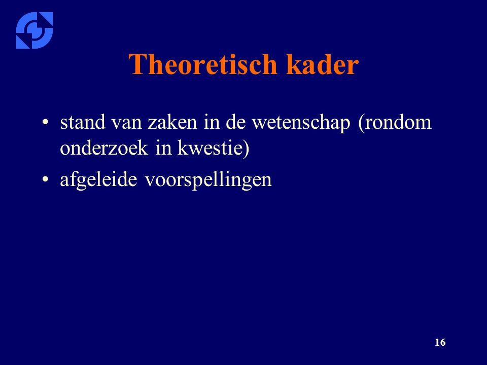 16 Theoretisch kader stand van zaken in de wetenschap (rondom onderzoek in kwestie) afgeleide voorspellingen