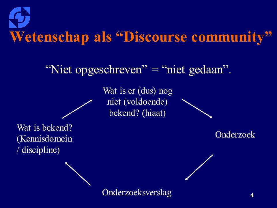 """4 Wetenschap als """"Discourse community"""" """"Niet opgeschreven"""" = """"niet gedaan"""". Wat is bekend? (Kennisdomein / discipline) Wat is er (dus) nog niet (voldo"""