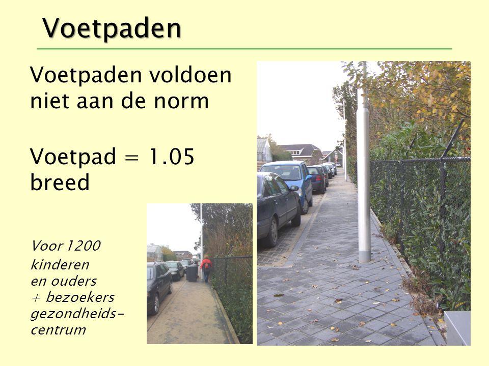 Voetpaden Voetpaden voldoen niet aan de norm Voetpad = 1.05 breed Voor 1200 kinderen en ouders + bezoekers gezondheids- centrum