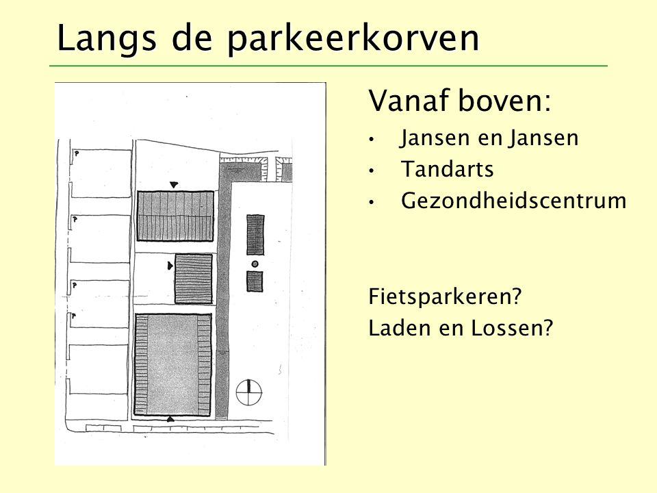 Langs de parkeerkorven Vanaf boven: Jansen en Jansen Tandarts Gezondheidscentrum Fietsparkeren.