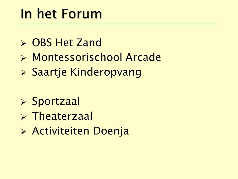 In het Forum  OBS Het Zand  Montessorischool Arcade  Saartje Kinderopvang  Sportzaal  Theaterzaal  Activiteiten Doenja