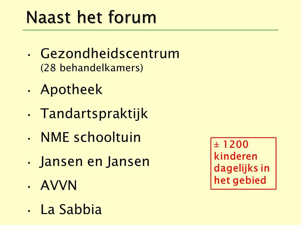Naast het forum Gezondheidscentrum (28 behandelkamers) Apotheek Tandartspraktijk NME schooltuin Jansen en Jansen AVVN La Sabbia ± 1200 kinderen dagelijks in het gebied
