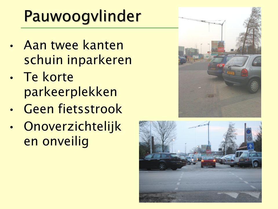 Pauwoogvlinder Aan twee kanten schuin inparkeren Te korte parkeerplekken Geen fietsstrook Onoverzichtelijk en onveilig