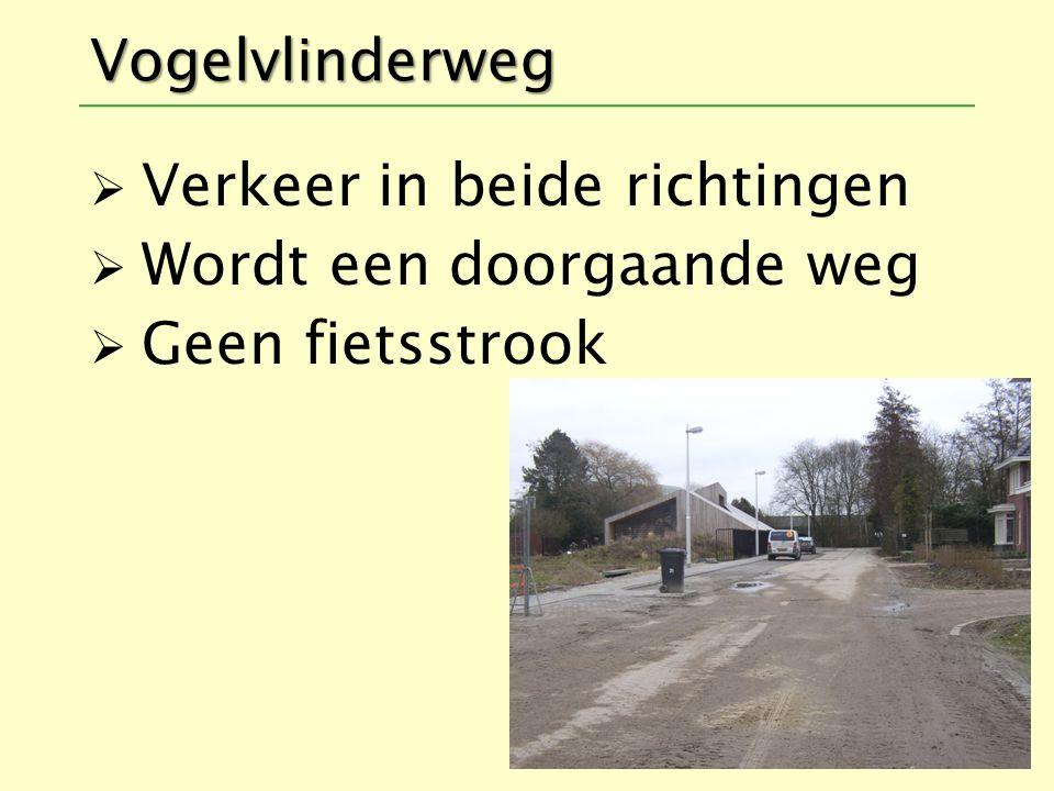 Vogelvlinderweg  Verkeer in beide richtingen  Wordt een doorgaande weg  Geen fietsstrook