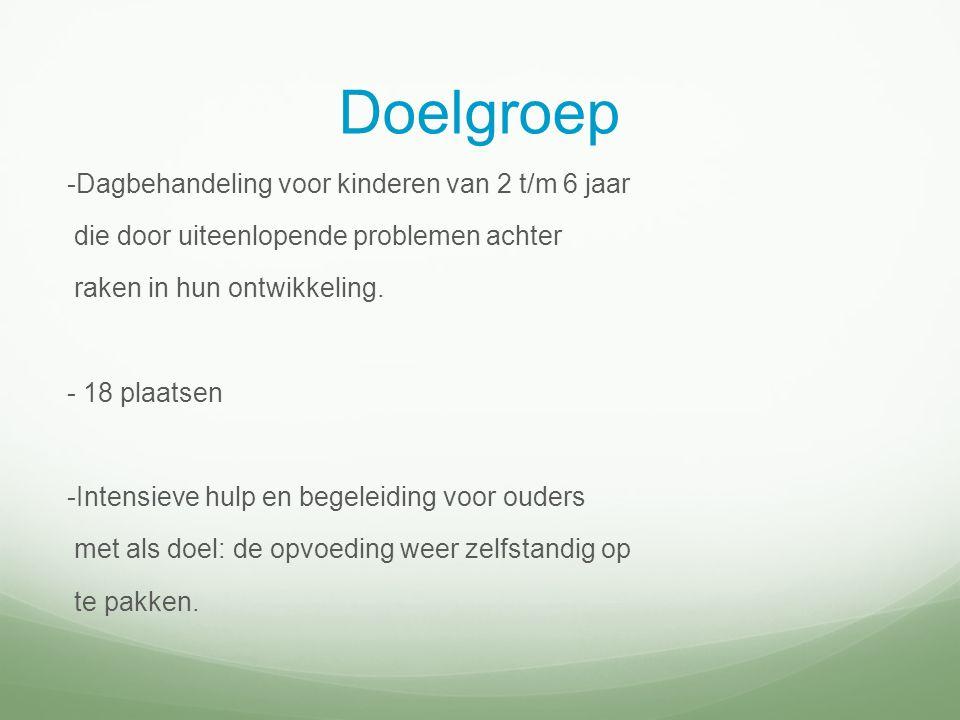 Doelgroep -Dagbehandeling voor kinderen van 2 t/m 6 jaar die door uiteenlopende problemen achter raken in hun ontwikkeling.