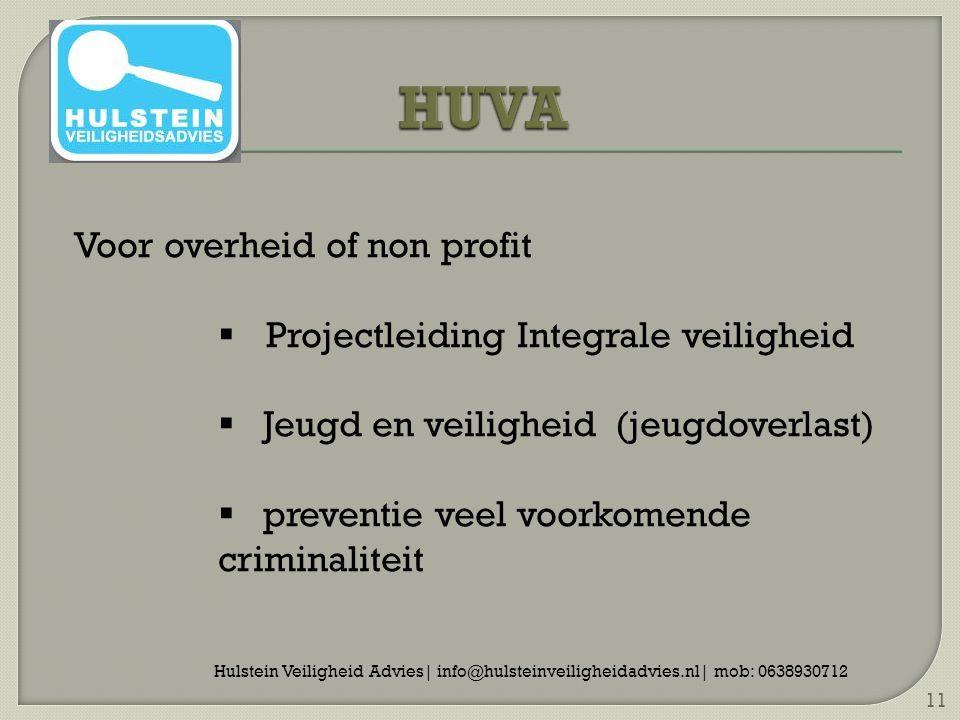 Hulstein Veiligheid Advies| info@hulsteinveiligheidadvies.nl| mob: 0638930712 11 Voor overheid of non profit  Projectleiding Integrale veiligheid  Jeugd en veiligheid (jeugdoverlast)  preventie veel voorkomende criminaliteit
