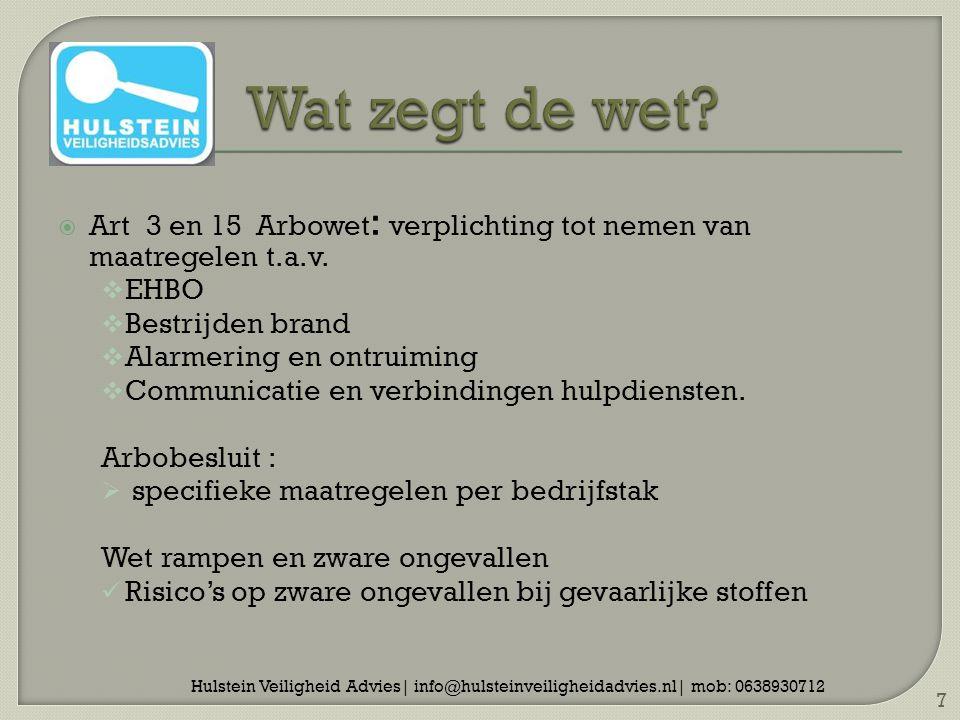  Art 3 en 15 Arbowet : verplichting tot nemen van maatregelen t.a.v.  EHBO  Bestrijden brand  Alarmering en ontruiming  Communicatie en verbindin
