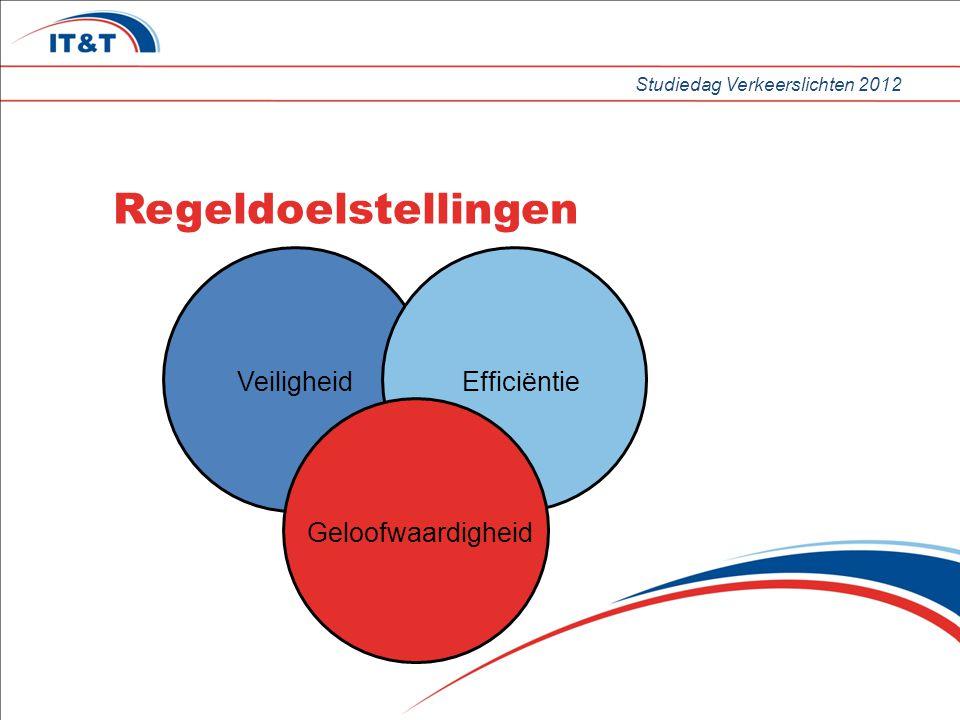 Studiedag Verkeerslichten 2012 Regeldoelstellingen Veiligheid Efficiëntie Geloofwaardigheid
