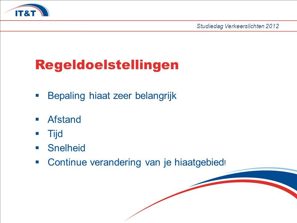 Studiedag Verkeerslichten 2012 Regeldoelstellingen  Bepaling hiaat zeer belangrijk  Afstand  Tijd  Snelheid  Continue verandering van je hiaatgebied !