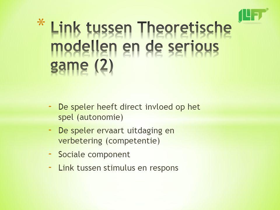 - De speler heeft direct invloed op het spel (autonomie) - De speler ervaart uitdaging en verbetering (competentie) - Sociale component - Link tussen stimulus en respons